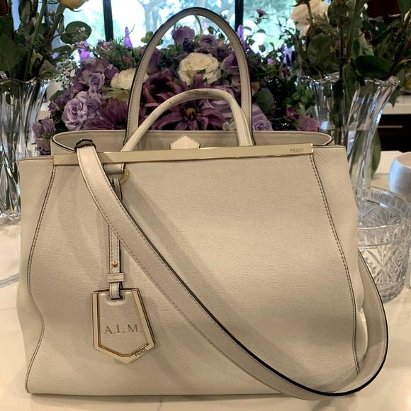 FENDI White Leather and Gold Trim Large Handbag